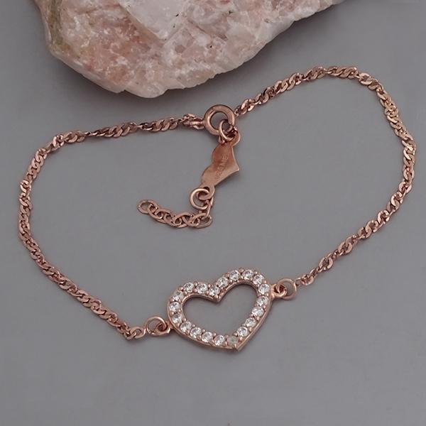 pulsera de plata corazon con zirconia bañada en oro rosa - plata rosa